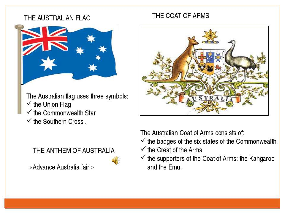 THE AUSTRALIAN FLAG THE COAT OF ARMS «Advance Australia fair!» THE ANTHEM OF ...