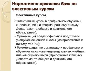 Нормативно-правовая база по элективным курсам Элективные курсы Элективные кур...