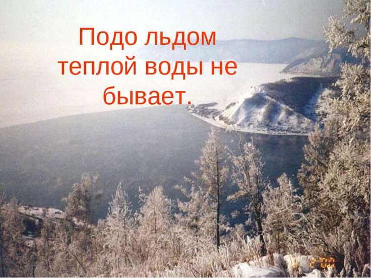 Подо льдом теплой воды не бывает.