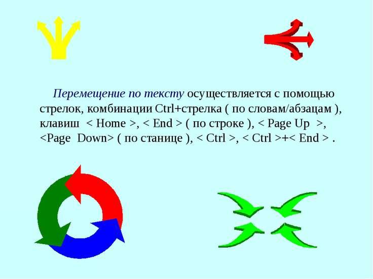 Перемещение по тексту осуществляется с помощью стрелок, комбинации Ctrl+стрел...