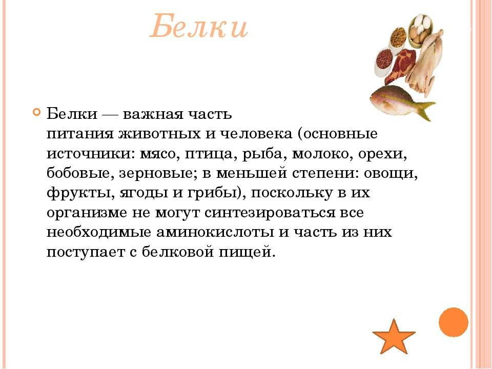 Белки Белки— важная часть питанияживотныхичеловека(основные источники: м...