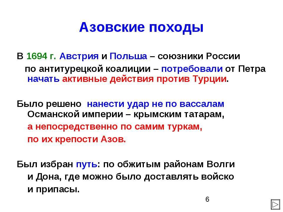 Азовские походы В 1694 г. Австрия и Польша – союзники России по антитурецкой ...