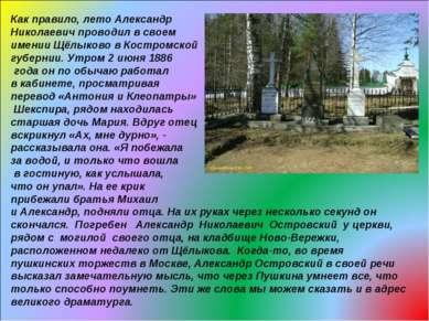Как правило, лето Александр Николаевич проводил в своем имении Щёлыково в Кос...