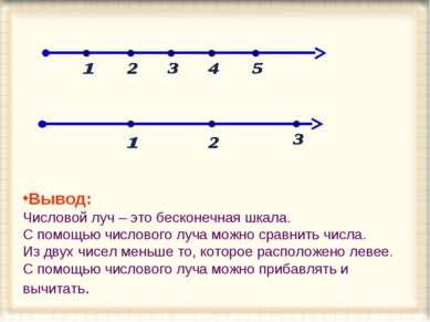 Вывод: Числовой луч – это бесконечная шкала. С помощью числового луча можно с...