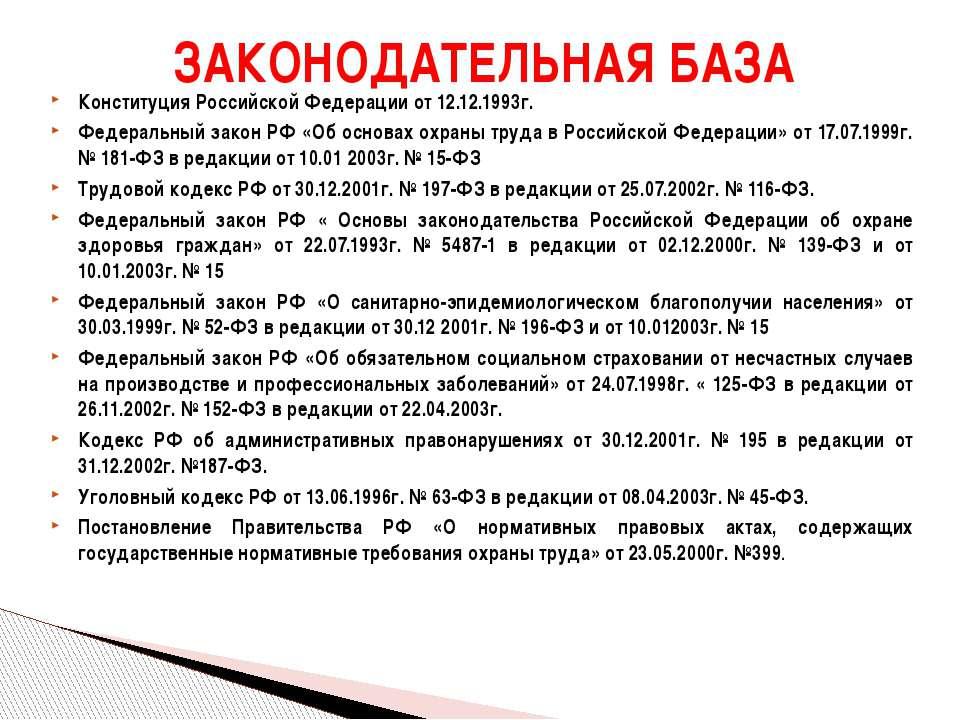 Конституция Российской Федерации от 12.12.1993г. Федеральный закон РФ «Об осн...