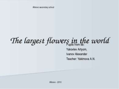 The largest flowers in the world Pupils from 9b: Yakovlev Artyom, Ivanov Alex...