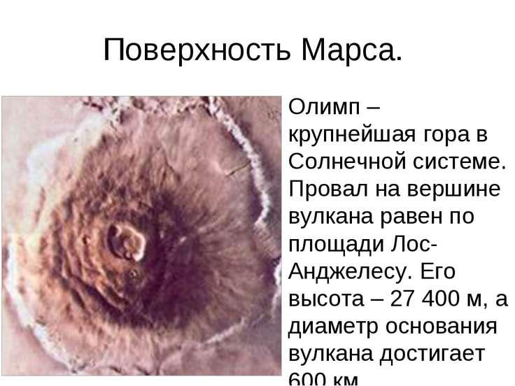Поверхность Марса. Олимп – крупнейшая гора в Солнечной системе. Провал на вер...