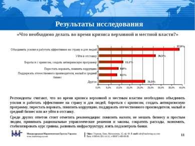 * Результаты исследования «Что необходимо делать во время кризиса верховной и...
