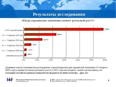 * Результаты исследования «Когда украинская экономика начнет реальный рост?» ...