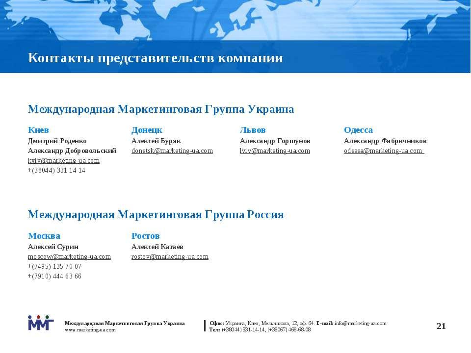 * Контакты представительств компании Международная Маркетинговая Группа Украи...