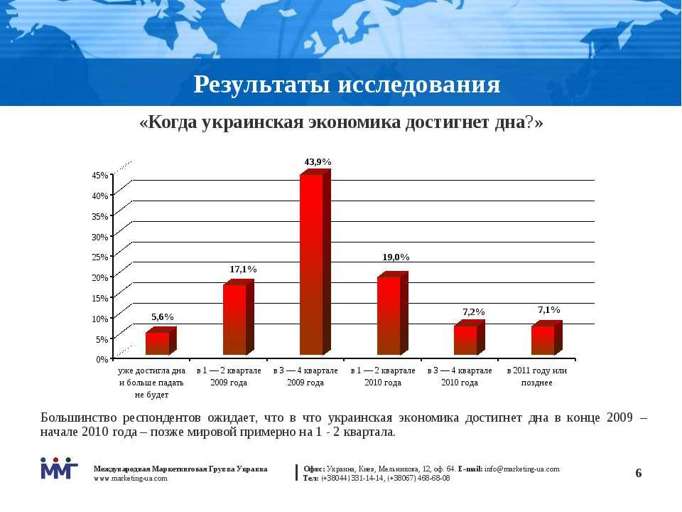 * Результаты исследования «Когда украинская экономика достигнет дна?» Большин...
