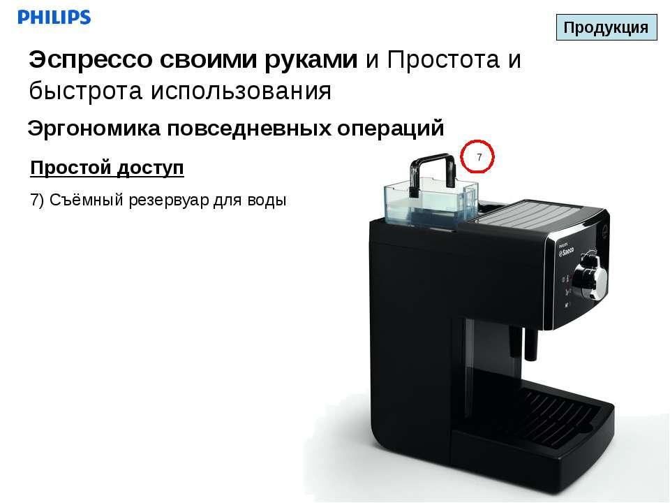 7 Простой доступ 7) Съёмный резервуар для воды Продукция Эспрессо своими рука...