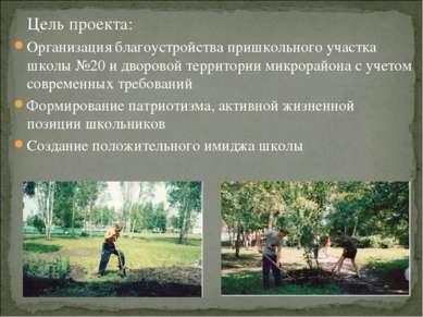 Цель проекта: Организация благоустройства пришкольного участка школы №20 и дв...