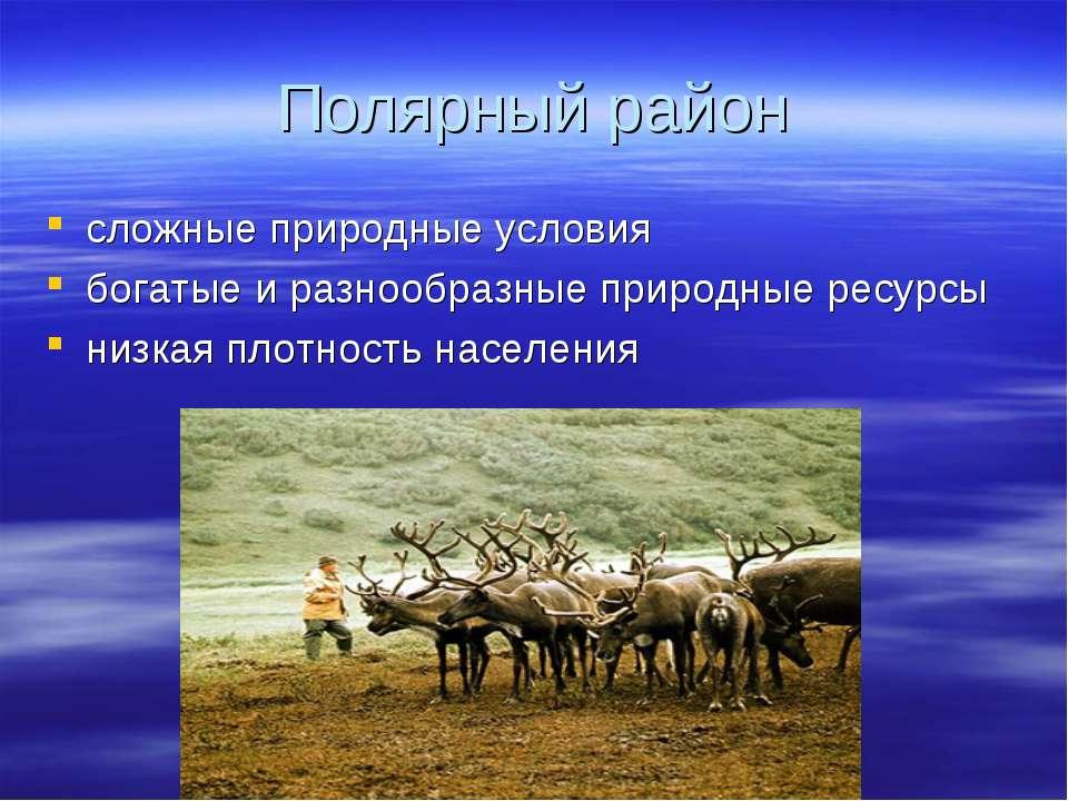 Полярный район сложные природные условия богатые и разнообразные природные ре...