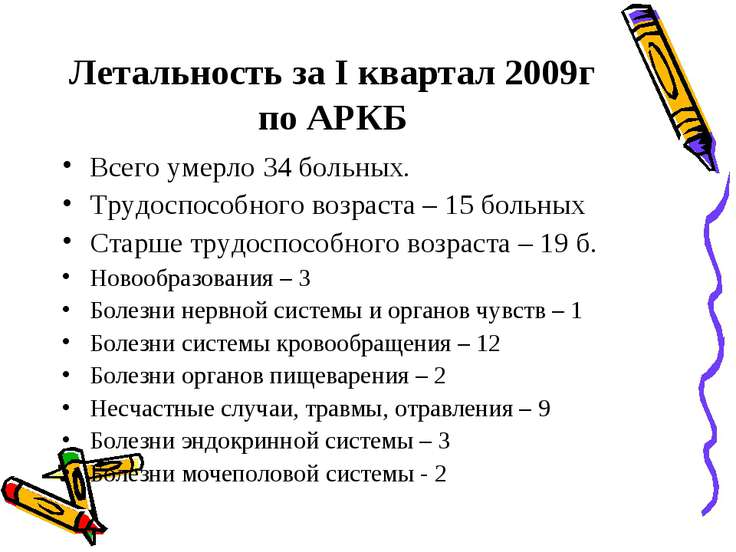 Летальность за I квартал 2009г по АРКБ Всего умерло 34 больных. Трудоспособно...