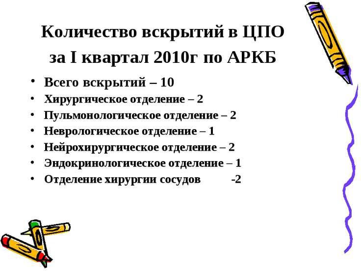 Количество вскрытий в ЦПО за I квартал 2010г по АРКБ Всего вскрытий – 10 Хиру...