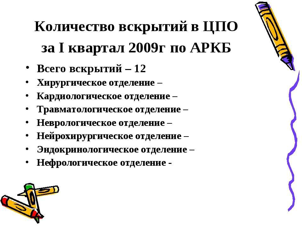 Количество вскрытий в ЦПО за I квартал 2009г по АРКБ Всего вскрытий – 12 Хиру...