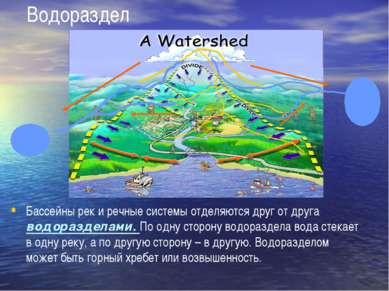 Водораздел Бассейны рек и речные системы отделяются друг от друга водораздела...