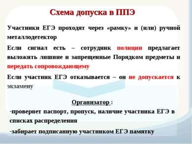 Схема допуска в ППЭ Участники ЕГЭ проходят через «рамку» и (или) ручной метал...