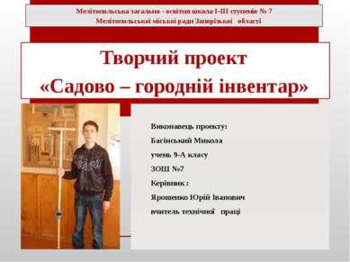 Виконавець проекту: Багінський Микола учень 9-А класу ЗОШ №7 Керівник : Яроше...