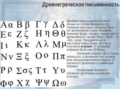 Древнегреческая письменность Древние греки разработали своё письмо на основе ...