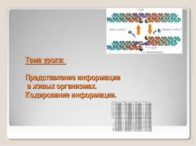 Тема урока: Представление информации в живых организмах. Кодирование информации.