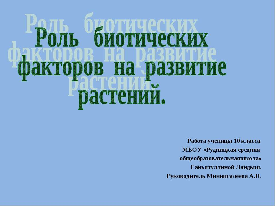 Работа ученицы 10 класса МБОУ «Рудницкая средняя общеобразовательнаяшкола» Га...
