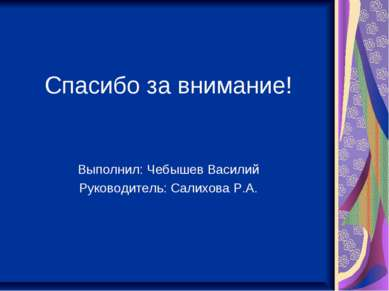 Спасибо за внимание! Выполнил: Чебышев Василий Руководитель: Салихова Р.А.
