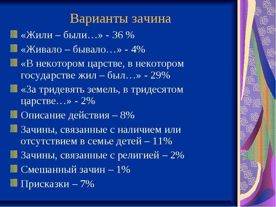 Варианты зачина «Жили – были…» - 36 % «Живало – бывало…» - 4% «В некотором ца...
