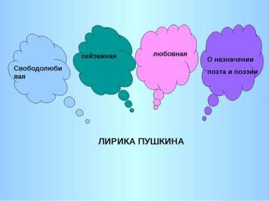 ЛИРИКА ПУШКИНА пейзажная любовная О назначении поэта и поэзии Свободолюбивая
