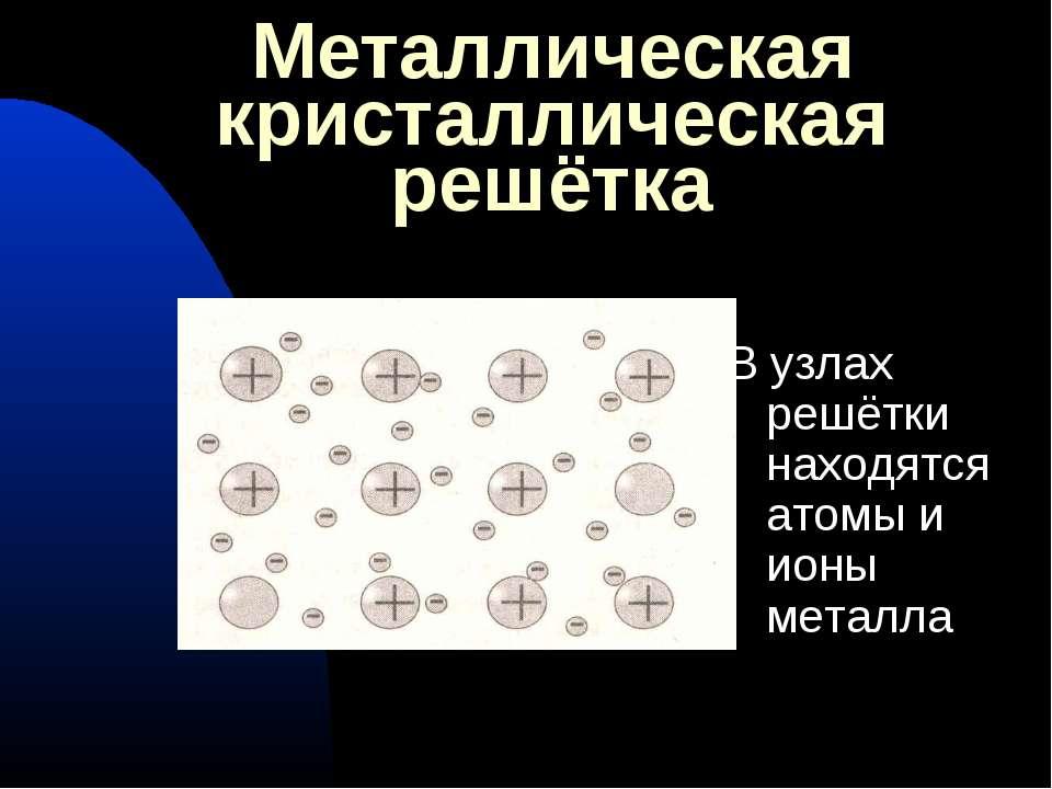 Металлическая кристаллическая решётка В узлах решётки находятся атомы и ионы ...