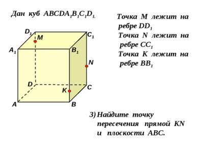 Дан куб АВСDA1B1C1D1. D1 D С1 С В1 В А1 А M Точка М лежит на ребре DD1 N Точк...