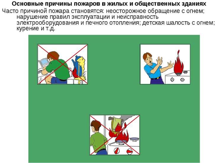 Основные причины пожаров в жилых и общественных зданиях Часто причиной пожара...