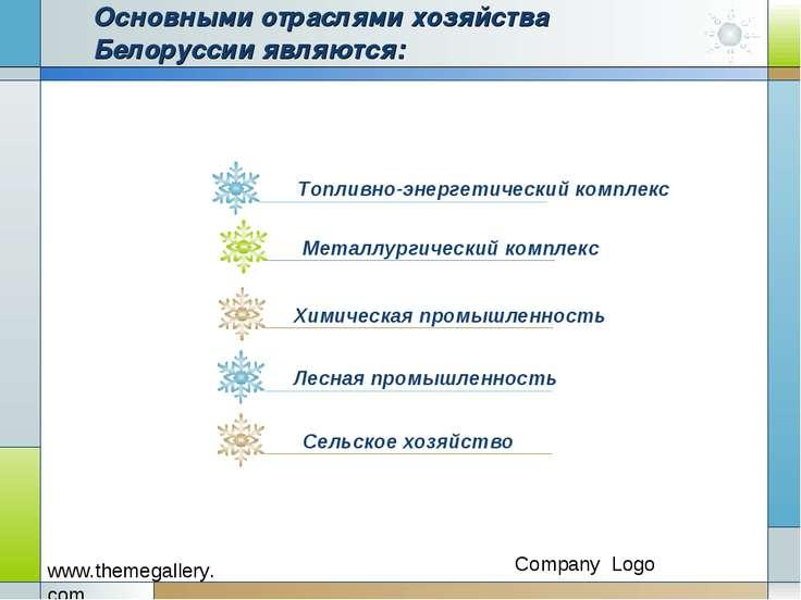 Основными отраслями хозяйства Белоруссии являются: