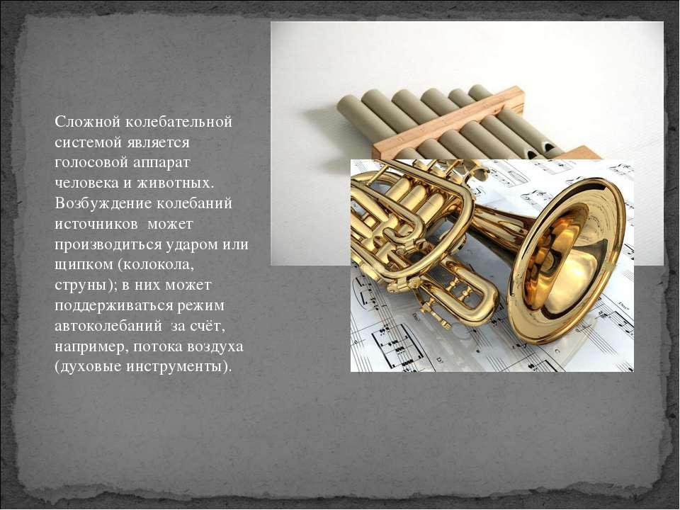 Сложной колебательной системой является голосовой аппарат человека и животных...