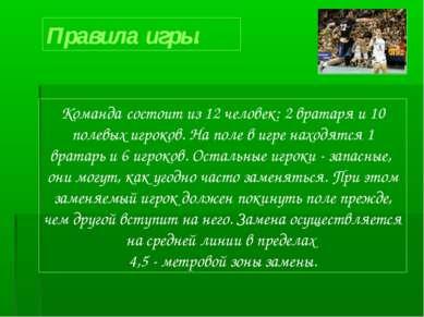 Правила игры. Команда состоит из 12 человек: 2 вратаря и 10 полевых игроков. ...