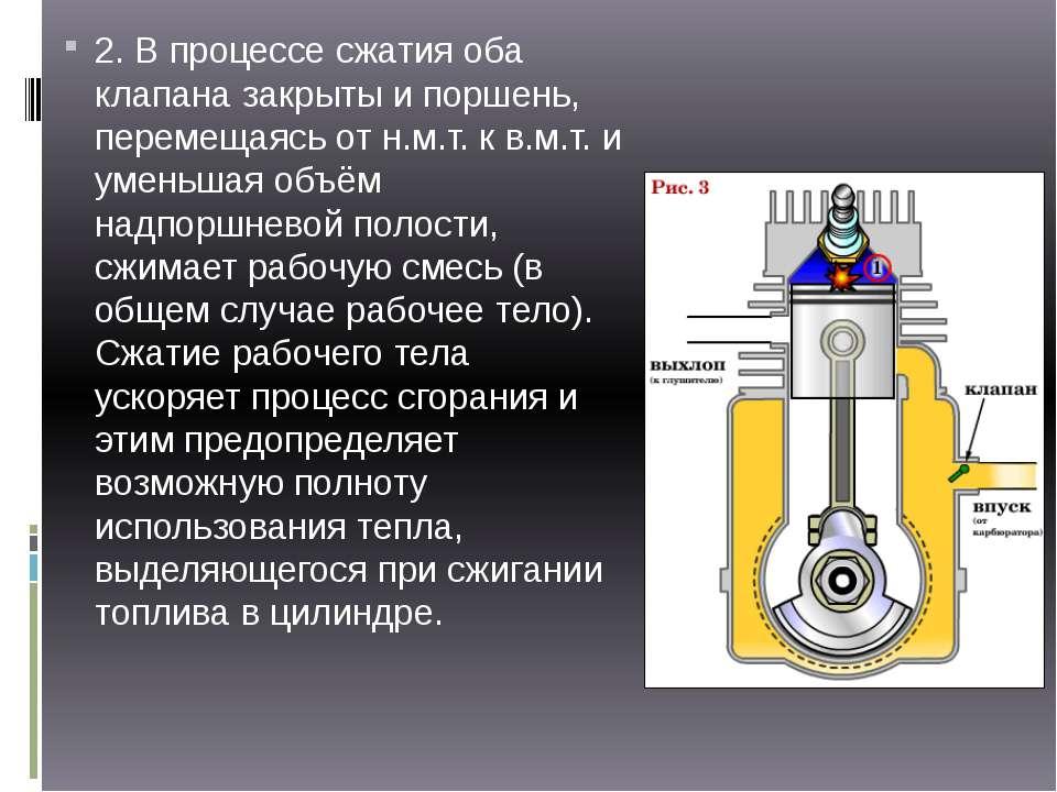 2. В процессе сжатия оба клапана закрыты и поршень, перемещаясь от н.м.т. к в...