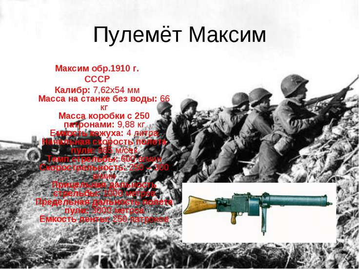 Пулемёт Максим Максим обр.1910 г. СССР Калибр: 7,62х54 мм Масса на станке без...