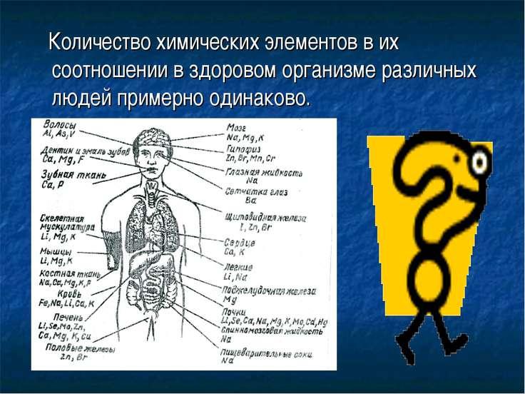 Количество химических элементов в их соотношении в здоровом организме различн...