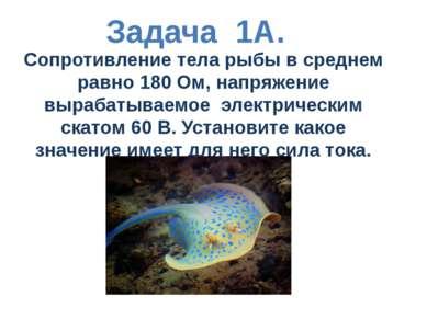Задача 1А. Сопротивление тела рыбы в среднем равно 180 Ом, напряжение вырабат...