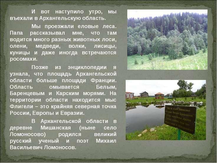 И вот наступило утро, мы въехали в Архангельскую область. Мы проезжали еловые...