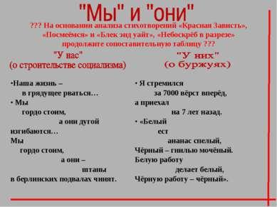 ??? На основании анализа стихотворений «Красная Зависть», «Посмеёмся» и «Блек...