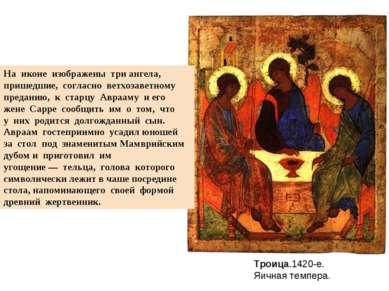 Троица.1420-е. Яичная темпера. На иконе изображены три ангела, пришедшие,...