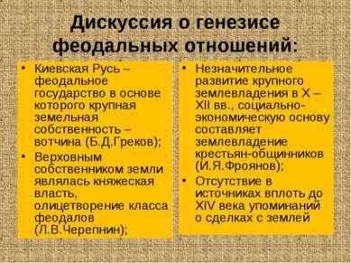 Дискуссия о генезисе феодальных отношений: Киевская Русь – феодальное государ...