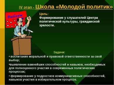IV этап - Школа «Молодой политик» Выборы Цель: Формирование у слушателей Цент...