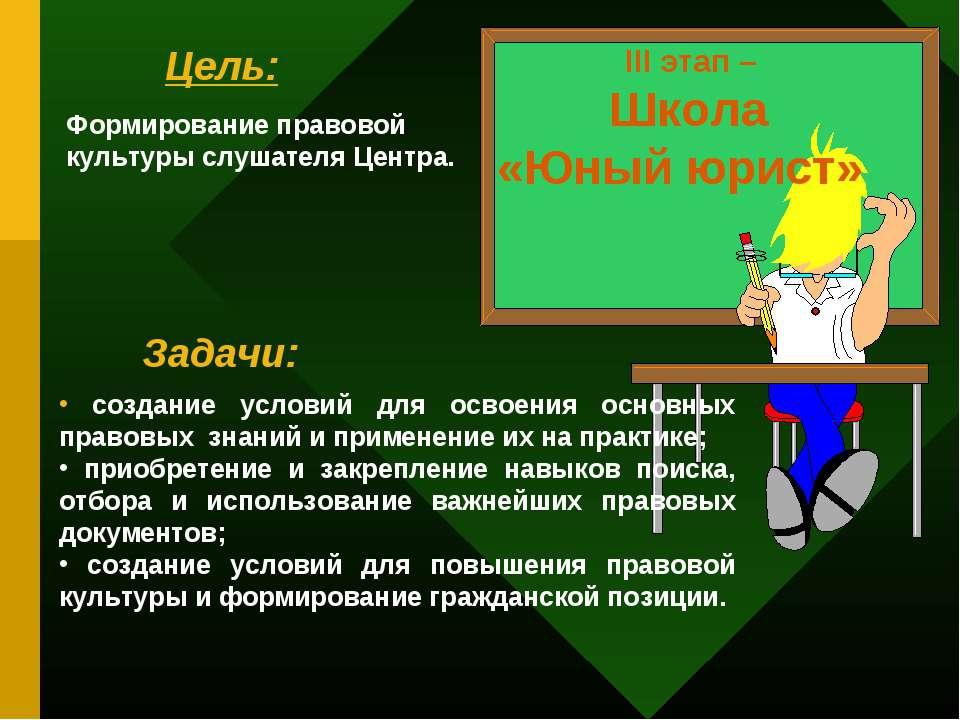 III этап – Школа «Юный юрист» Цель: Задачи: Формирование правовой культуры сл...