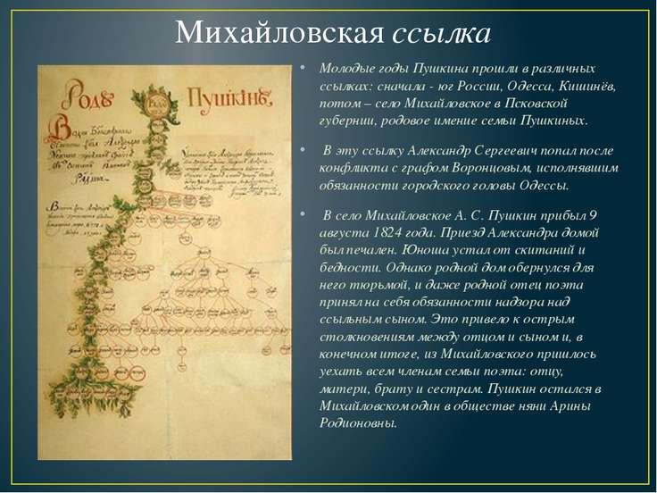 Михайловская ссылка Молодые годы Пушкина прошли в различных ссылках: сначала ...