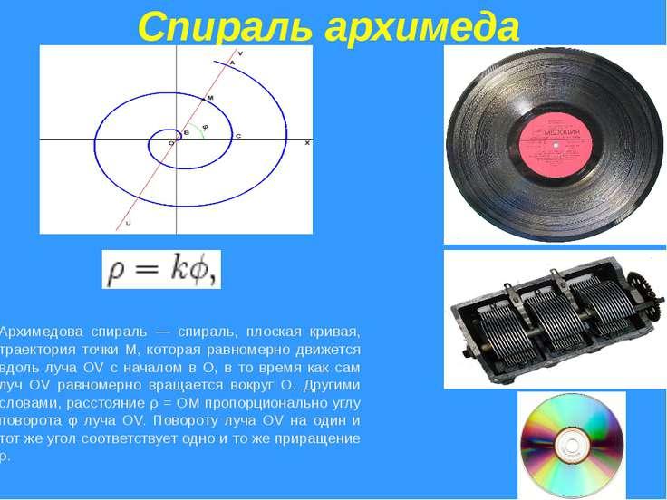 Спираль архимеда Архимедова спираль — спираль, плоская кривая, траектория точ...