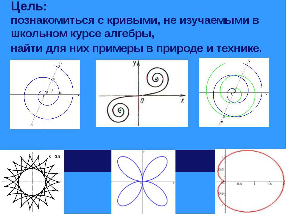 Цель: познакомиться с кривыми, не изучаемыми в школьном курсе алгебры, найти ...