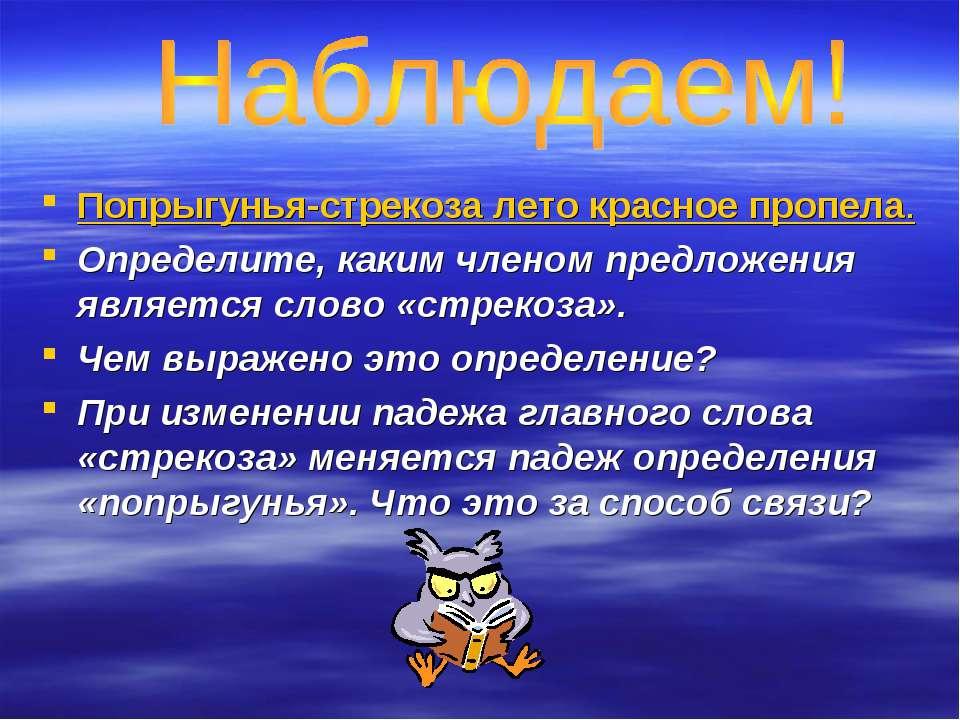 Попрыгунья-стрекоза лето красное пропела. Определите, каким членом предложени...